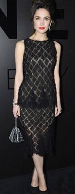 robe de soirée noire en dentelle porté par une célébrité