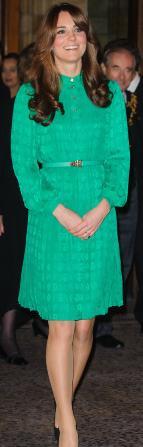Kate Middleton dans une robe soirée verte