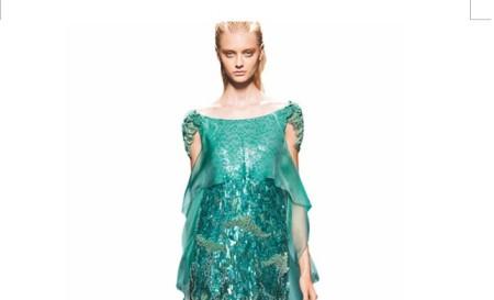 Robe de mariée verte pailletée d'Alberta Ferretti