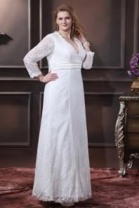 Robe de mariée grande taille simple manche longue