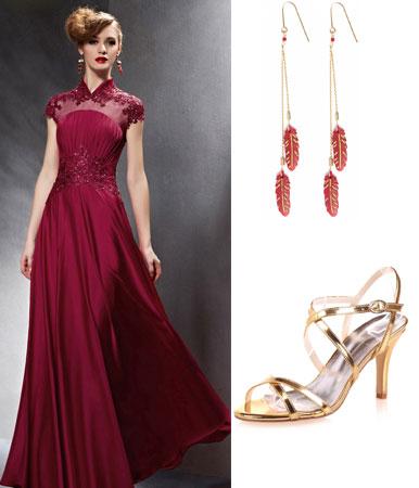 robe de soirée bordeaux longue et sandale pour mariage