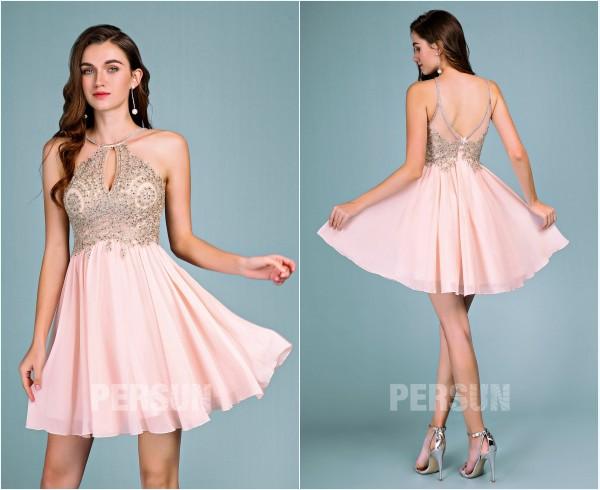 robe d'anniversaire rose col halter découpe goutte d'eau