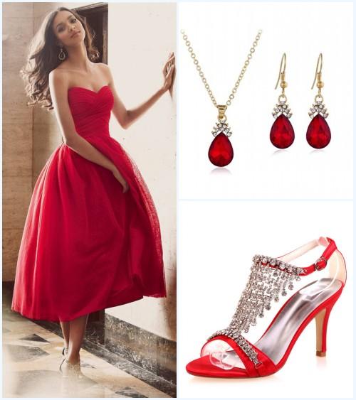 accessoires pour une robe rouge princesse en tulle
