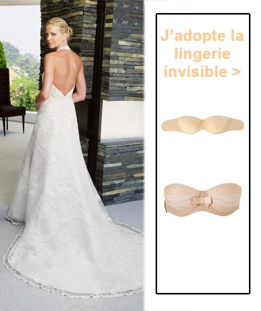 lingeries pour une robe de mariée dos nu