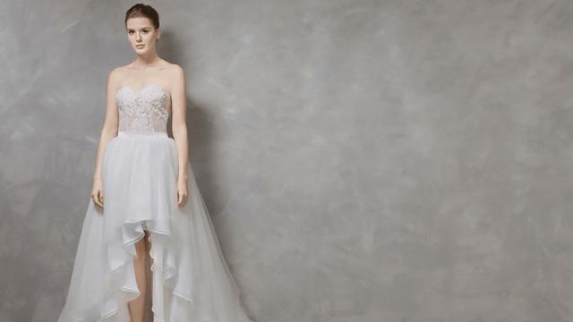 robe de mariée courte devant longue derrière bustier coeur