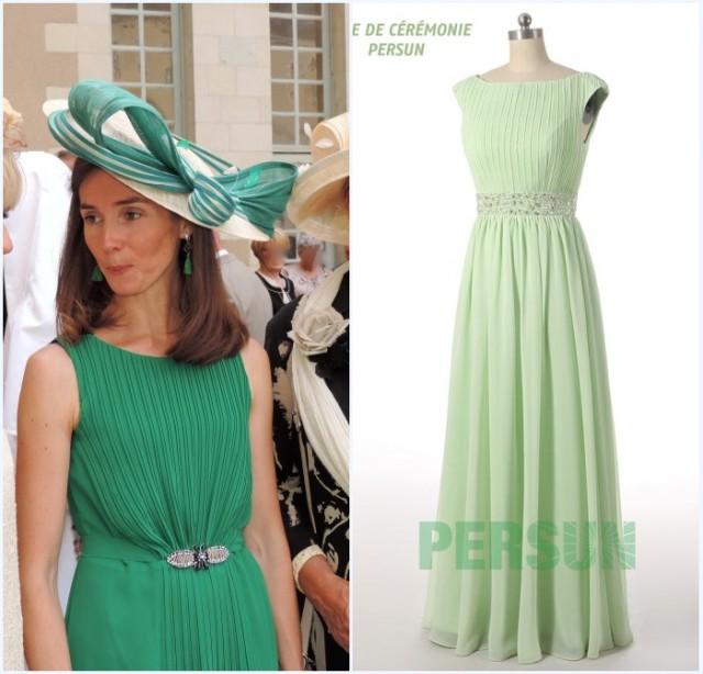 chapeau et robe mère de mariée verte simple