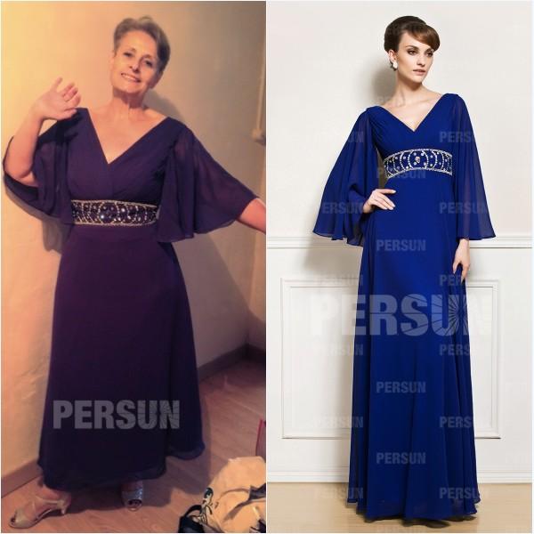 robe mère de mariée bleu longue avec manche