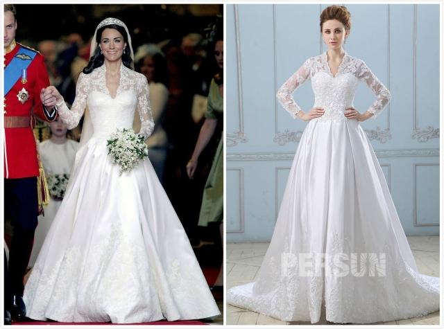 robe de mariée Kate Middleton dentelle avec manches