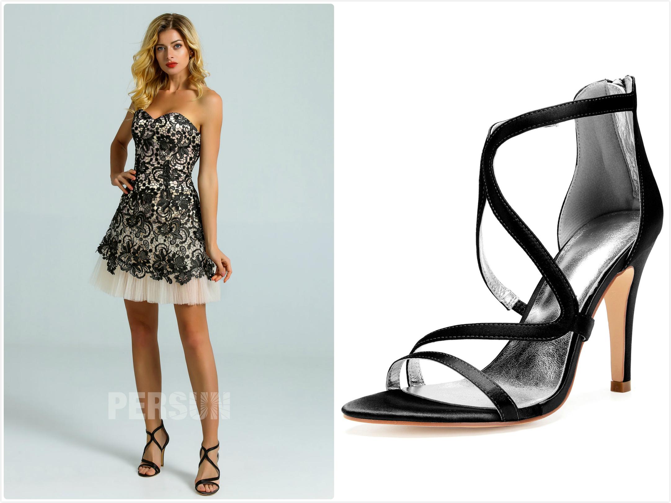 sandales noires pour assortir robe soirée courte dentelle noire