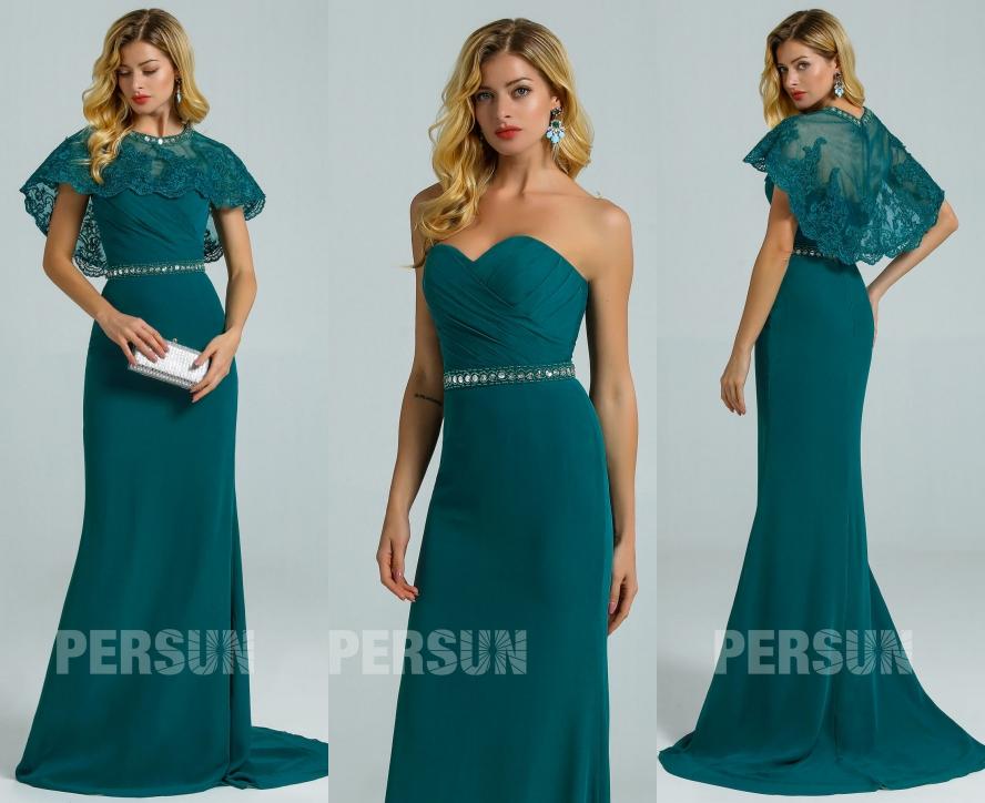 robe de soirée sirène vert pin bustier coeur avec cape dentelle détachable avec traîne