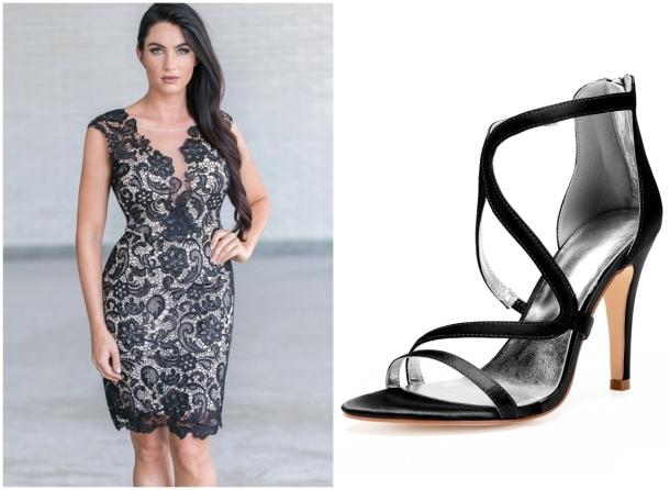 sandales talon haut pour robe bal grande taille courte dentelle noire