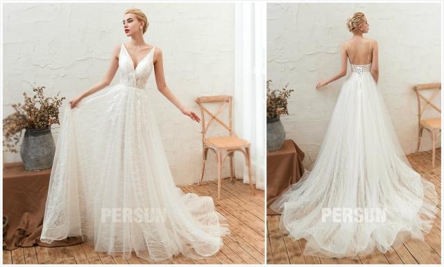 robe de mariée dentelle col v dos nu avec traîne