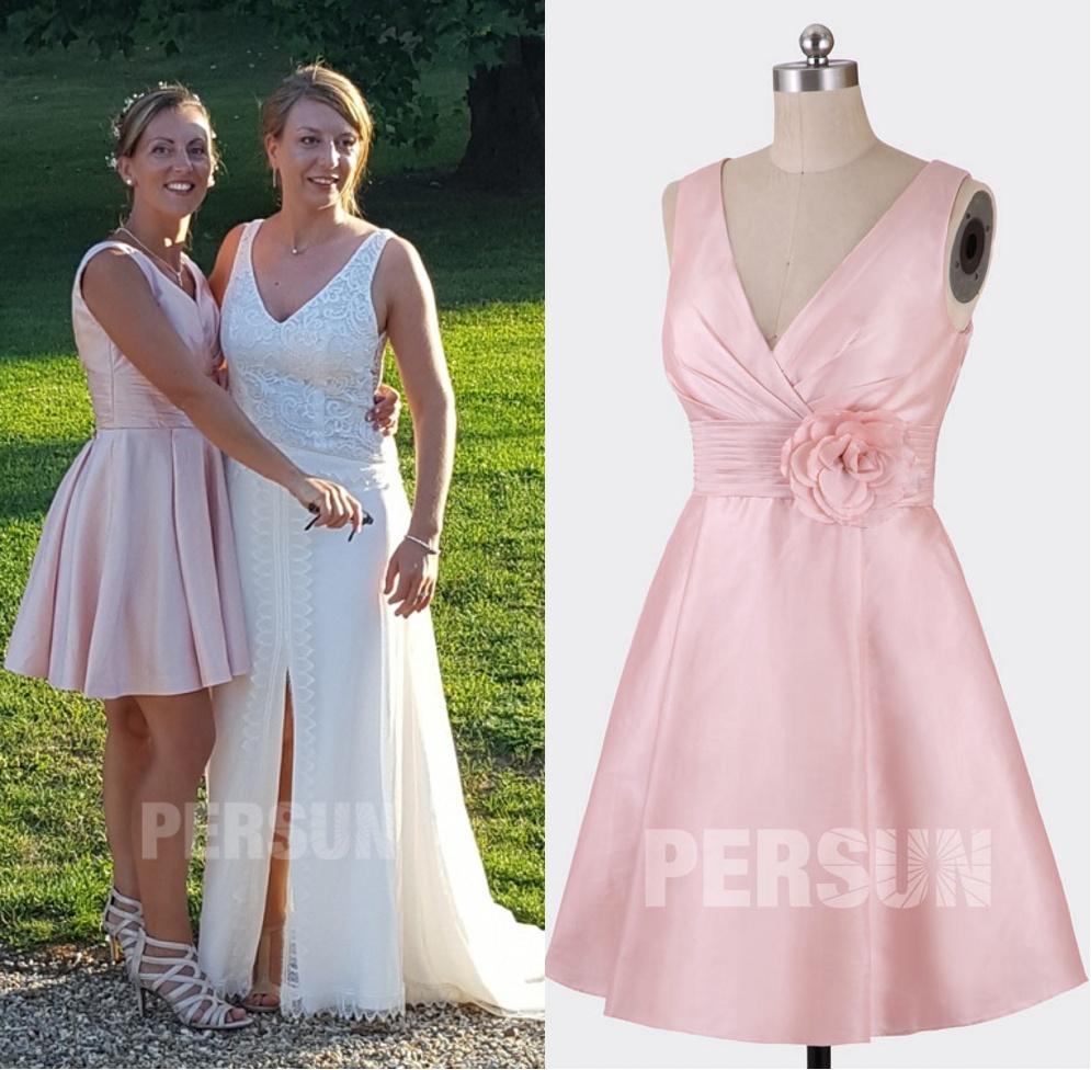 robe cocktail col v taffetas rose pâle pour demoiselles d'honneur
