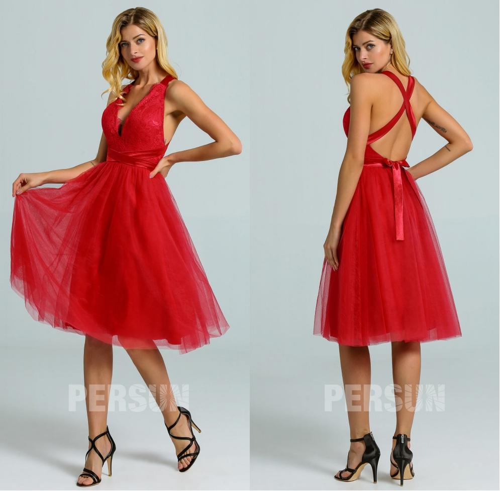 robe demoiselle d'honneur courte rouge décolleté v dos nu bretelles croisées