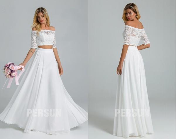 robe mariage bohème deux pièces haut dentelle épaules dénudées